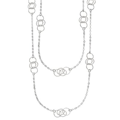Sterling Silver Rhodium Plated 36 InchLong Link Necklace