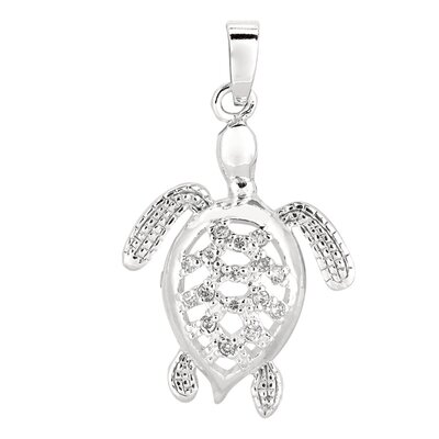 Jewelryweb Sterling Silver Rhodium Plated CZ Turtle Pendant