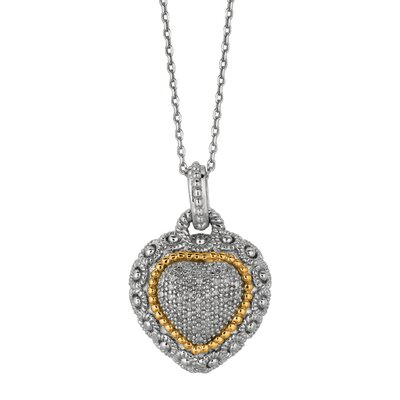 Jewelryweb Sterling Silver 14k Gold Heart PendantWith Diamond - 18 Inch