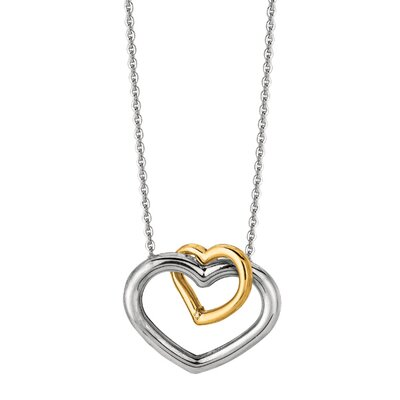 Sterling Silver 14k Gold Open Heart Necklace - 18 Inch