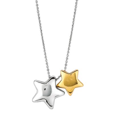 Sterling Silver 14k Gold Star Necklace - 18 Inch