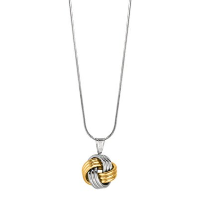 Jewelryweb Sterling Silver 14k Gold 14 Love Knot Necklace - 18 Inch