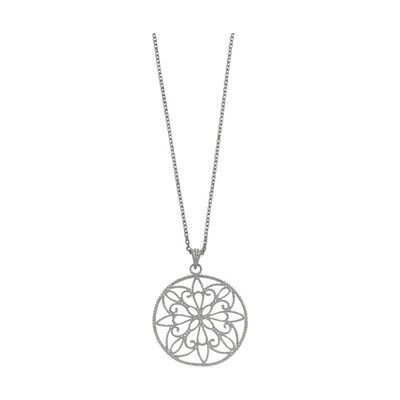 Sterling Silver Rhodium Plated Circle Pendant- 18 Inch