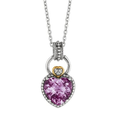 Jewelryweb Sterling Silver 18k Gold Oxidized PendantWith Lite Amethyst and Diamond - 18 Inch