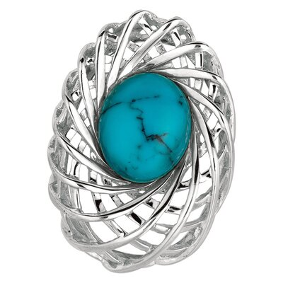 Sterling Silver and Gems Rhodium Plated PendantSynthetic Turquoise Agrca - 18 Inch