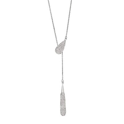 Jewelryweb Sterling Silver Rhodium Plated Td Pendant/ With Wht. Crystal - 28 Inch