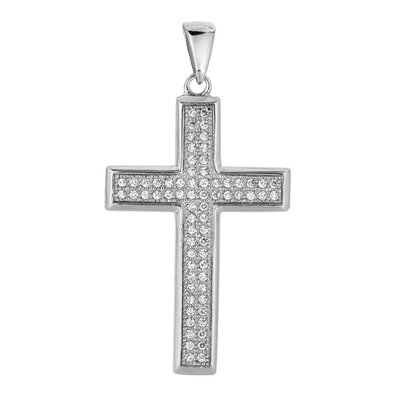 Sterling Silver CZ Rhodium Plated 68 Crystal Studded Cross Pendant