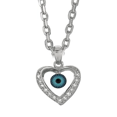 Sterling Silver CZ Rhodium Plated Evil Eye Heart Pendant- 18 Inch