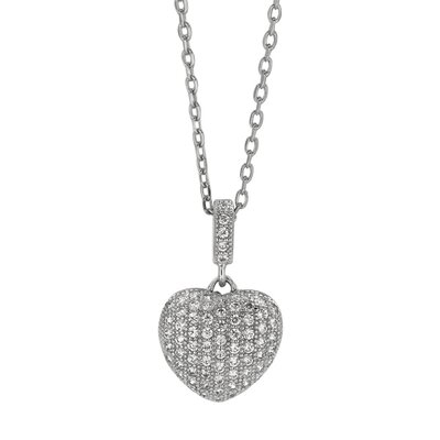 Jewelryweb Sterling Silver CZ Rhodium Plated PendantMicro Pave Necklace - 18 Inch