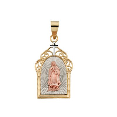 Jewelryweb 14k Gold 3-Clr Lady Of Guadalupe Pendant19.25x13.25mm