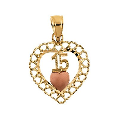 14k Two-Tone 15th Birthday Heart Pendant15x14.5mm