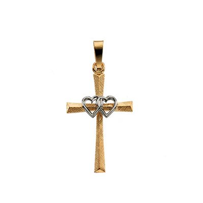 Jewelryweb 14k Two-Tone Cross PendantWith Double Hearts 20x14mm