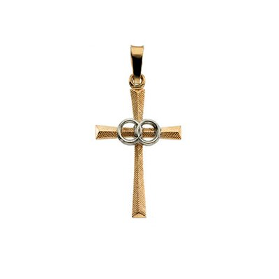 14k Two-Tone Cross PendantWith Wedding Bands 20x14mm