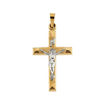 Jewelryweb 14k Two-Tone Crucifix Pendant25x17mm