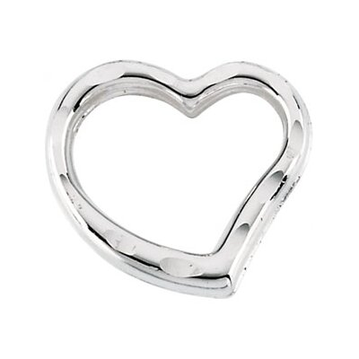 Jewelryweb 14k White Gold Child Heart PendantWith Chain 11.5x9mm