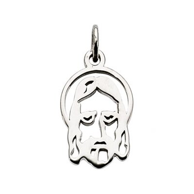Jewelryweb 14k White Gold Face Of Jesus Silhouette Pendant