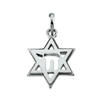 14k White Gold Star Of David Chai Pendant19x14mm