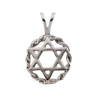 14k White Gold Star Of David Pendant20x13mm