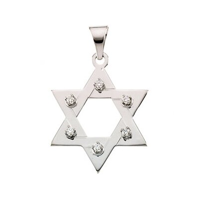 14k Yellow Gold Star Of David PendantWith Diamond 25x19mm