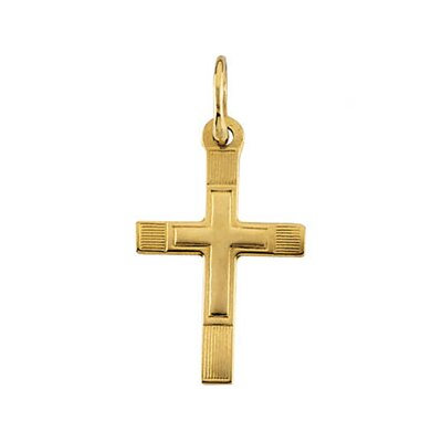 14k Yellow Gold Childrens Etched Cross Pendant16x9.5mm