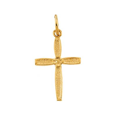 Jewelryweb 14k Yellow Gold Childs Cross Pendant14x10mm
