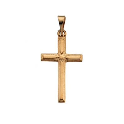 Jewelryweb 14k Yellow Gold Cross Pendant19x12.5mm
