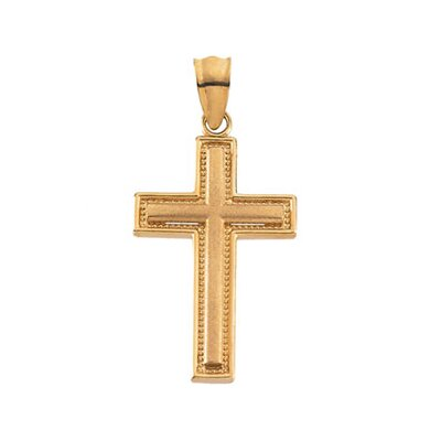 Jewelryweb 14k Yellow Gold Cross Pendant20x13mm