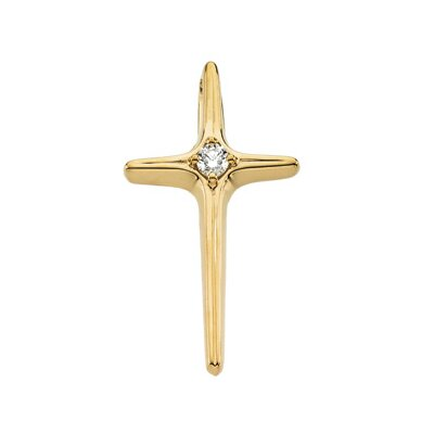 14k Yellow Gold Cross PendantWith Diamond 25x14mm