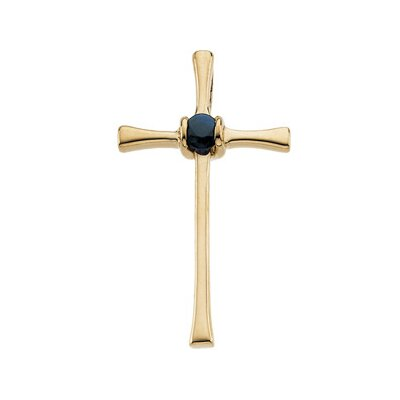 14k Yellow Gold Cross PendantWith Sapphire 21x13mm