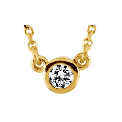14k Yellow Gold Diamond Solitaire Necklace 3mm