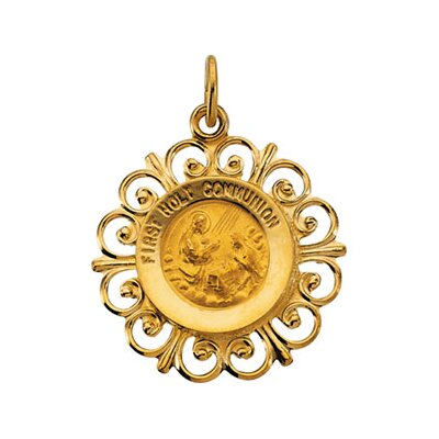 Jewelryweb 14k Yellow Gold First Communion Medal Pendant20x18.5mm