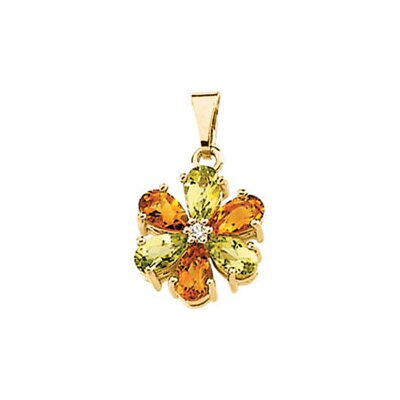 Jewelryweb 14k Yellow Gold Peridot Citrine Diamond Pendant