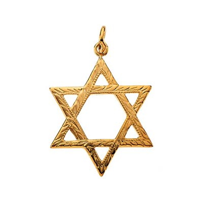 Jewelryweb 14k Yellow Gold Star Of David Pendant19.5x15mm