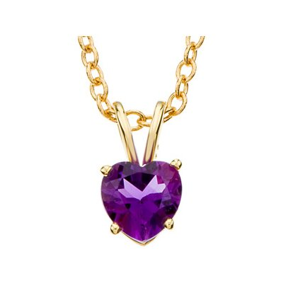 14k Yellow Gold Genuine Amethyst Heart Necklace 6mmGen Ame 18 Inch