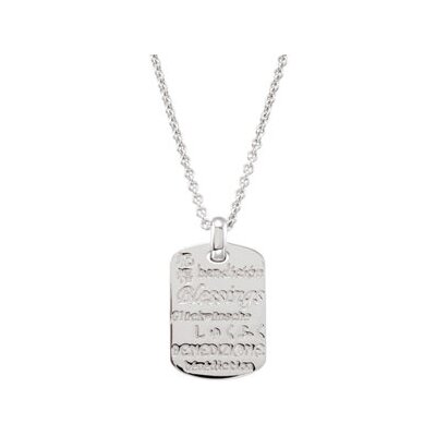 Jewelryweb Sterling Silver Blessings Necklace With Diamond Rhodium Plate 26.01x18mm