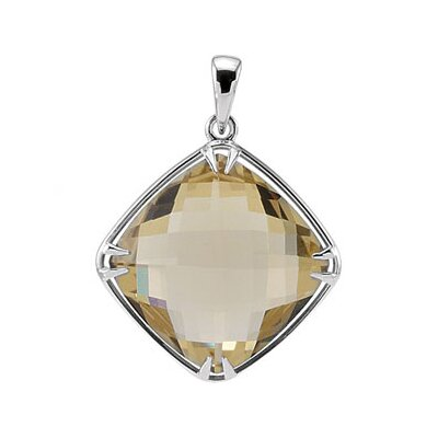 Jewelryweb Sterling Silver Genuine Lemon Quartz Pendant