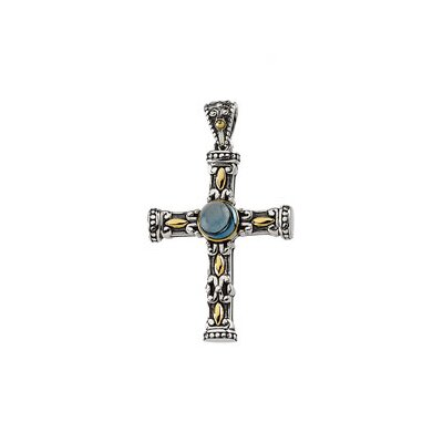Sterling Silver Genuine Cable Chain London Blue Topaz Cross Pendant40.25x24mm