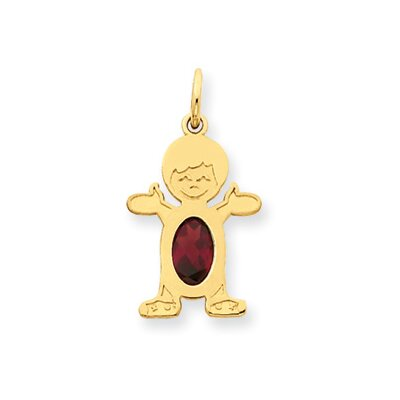 14K Boy Oval Genuine Garnet January Birthstone Pendant