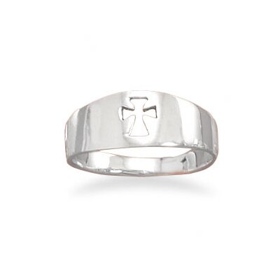 Ster. Silver Small Band Cut Out Cross Ring Band Is Graduated From 3-7mm- 5mm Cut ...