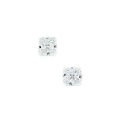 14k 4 Segment Square CZ Light Prong Set Earrings