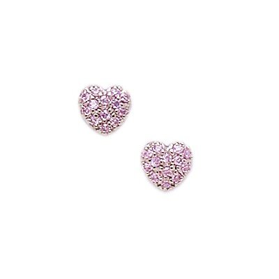 14k White Gold Pink CZ Heart Screwback Earrings
