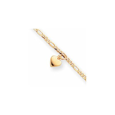 14k Polished Figaro Link Dangling Heart Anklet - Spring Ring
