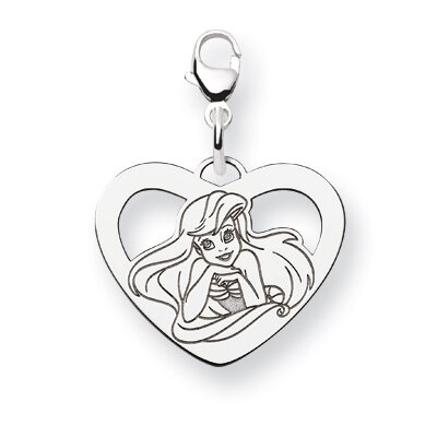 Sterling Silver Disney Ariel Heart Lobster Clasp Charm