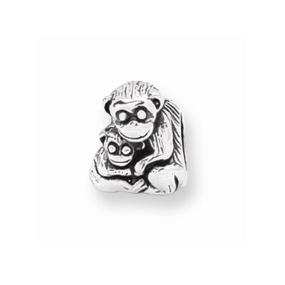 Jewelryweb Sterling Silver Reflections Mama Baby Monkey Bead Charm