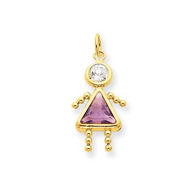 14K June Girl Birthstone Charm