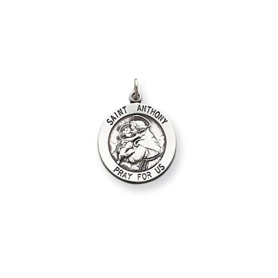 Jewelryweb Sterling Silver Saint Anthony Medal Charm