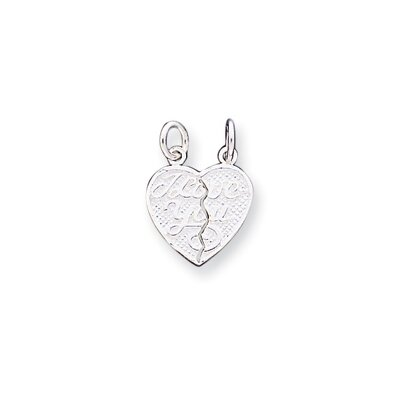 Jewelryweb Sterling Silver I Love You 2-Piece Break Apart Heart Charm