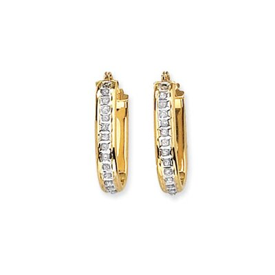 Jewelryweb 14k Diamond Fascination Squared Hinged Hoop Earrings