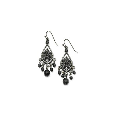 Black-plated Faceted Jet Black Crystal Chandelier Earrings