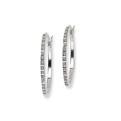 Jewelryweb Diamond Mystique Round Hinged Hoop Earrings